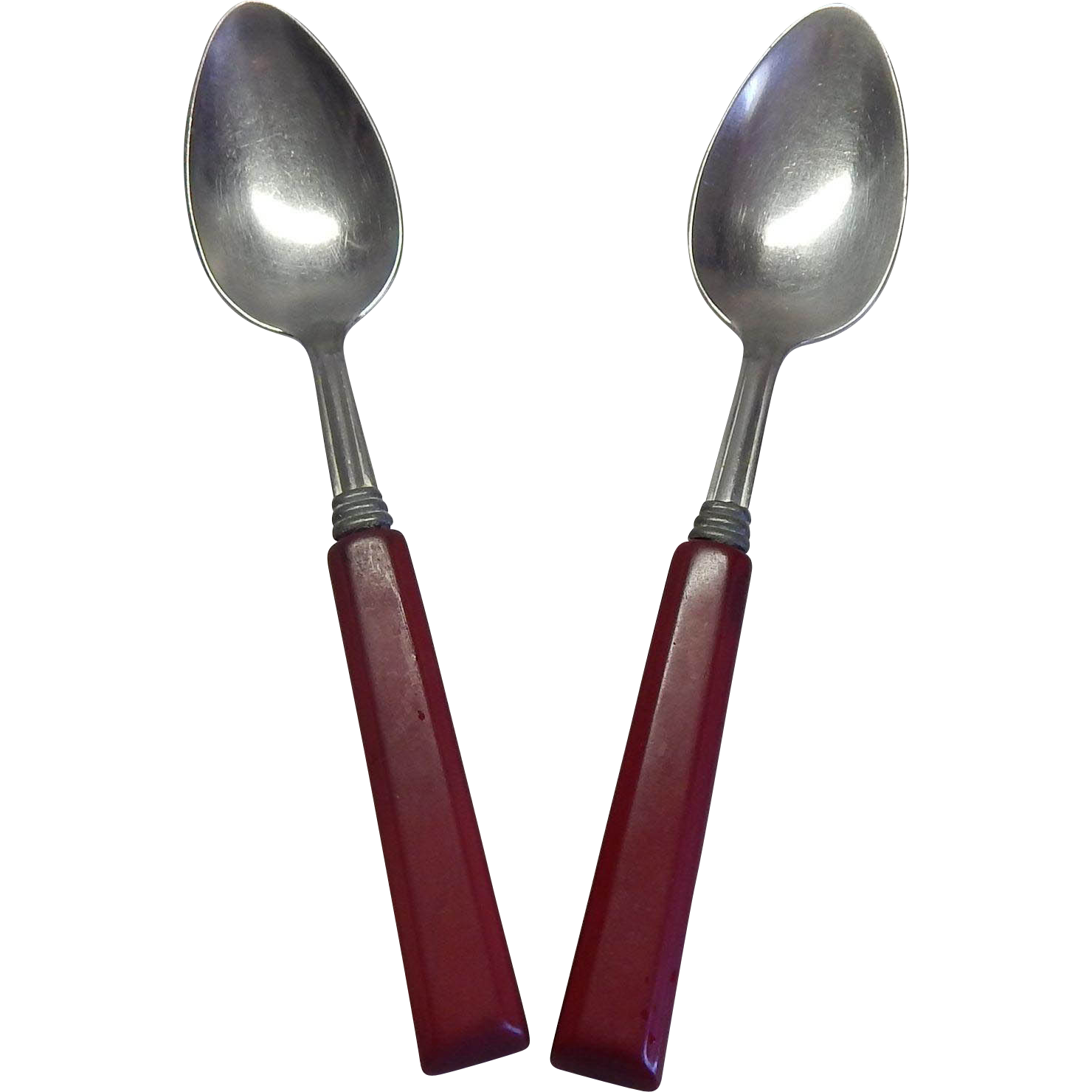 Two Vintage Serving Spoons with Plastic Handles