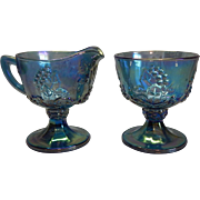 Indiana Glass Harvest Blue Creamer and Sugar Set