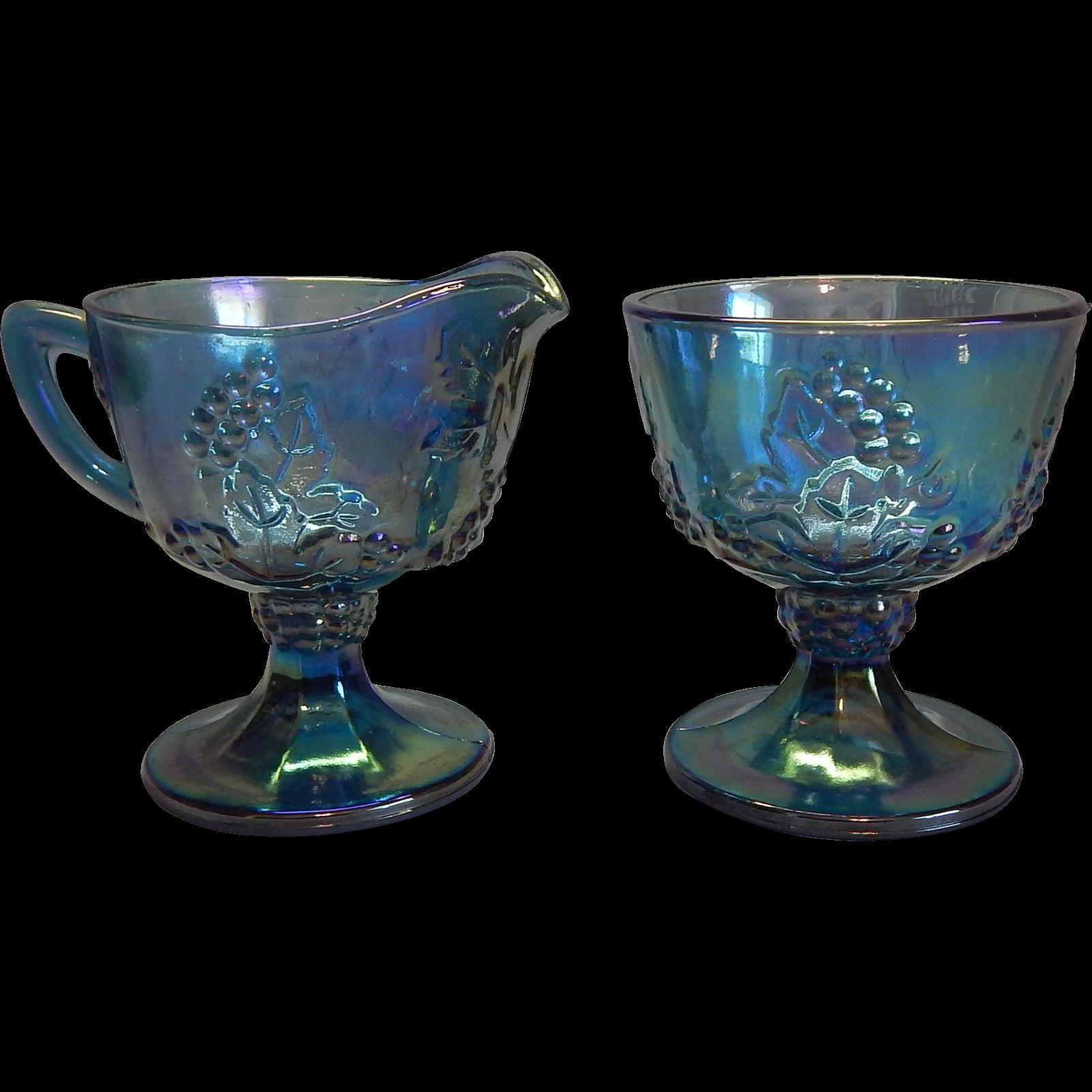 Indiana Glass Harvest Blue Creamer and Sugar Set