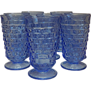 Eight Indiana Glass Blue Tumblers