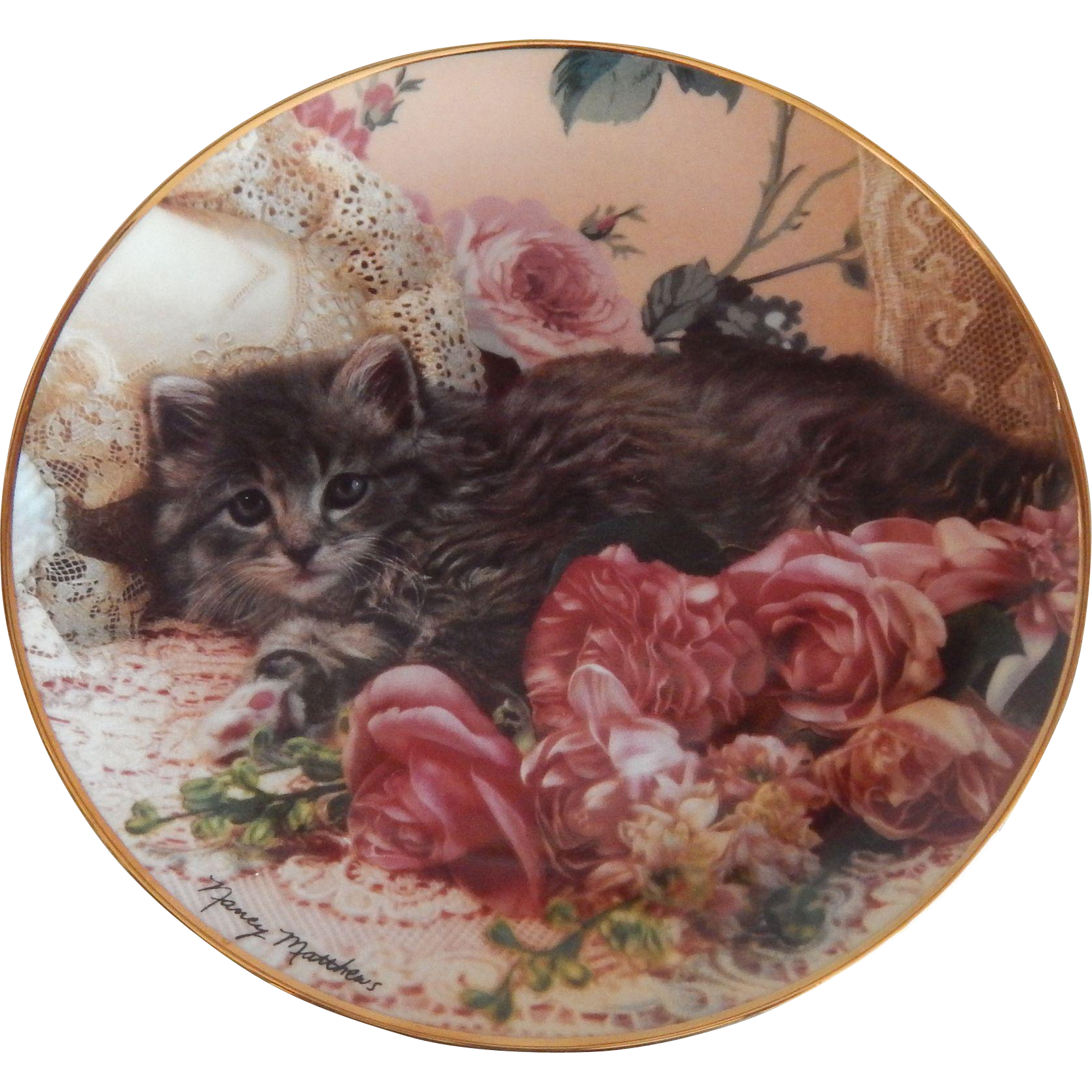 Franklin Mint Bed Of Roses Kitty Cat Plate