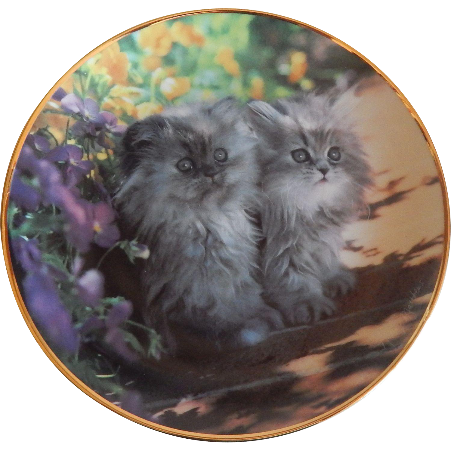 Franklin Mint Sitting Pretty Kitty Cat Plate