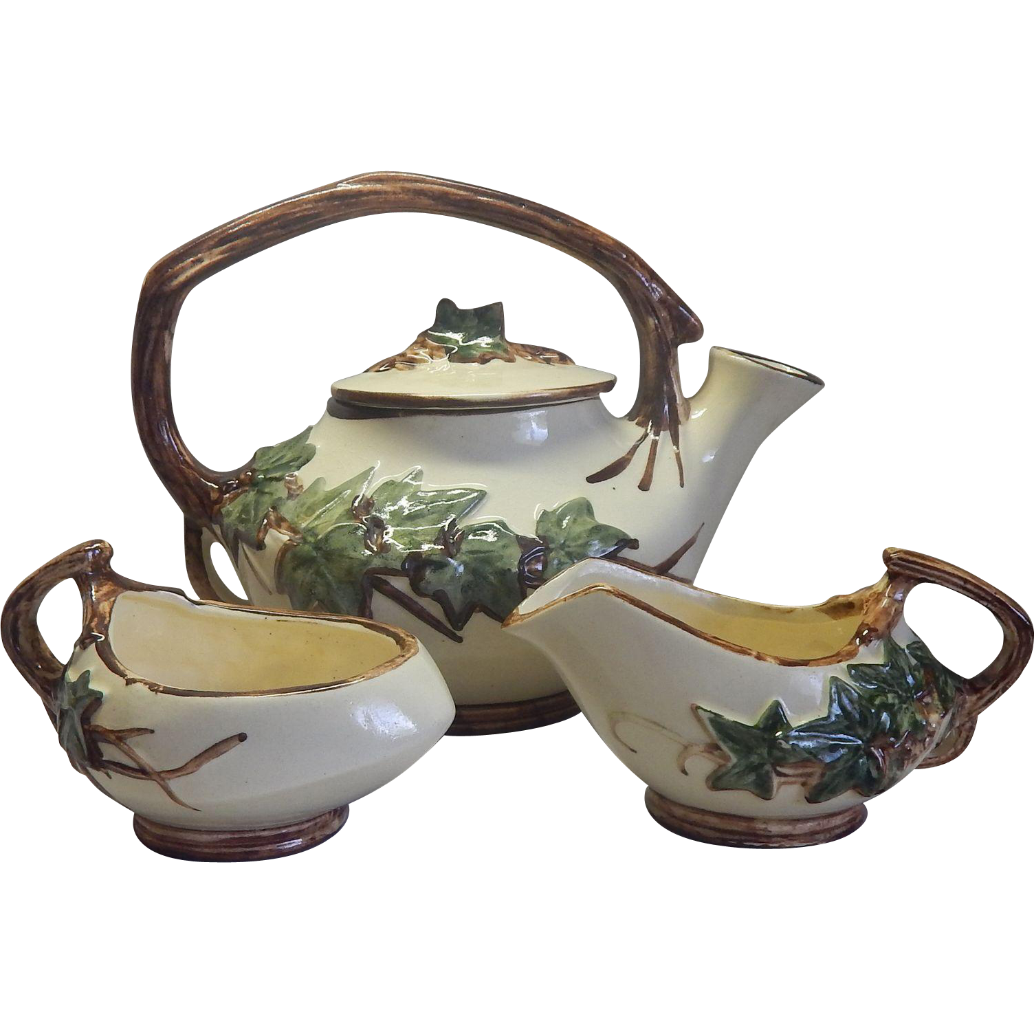 McCoy Pottery Ivy Teapot Creamer Sugar Set