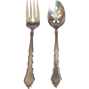 Oneida Stainless Cello Meat Fork and Pierced Spoon