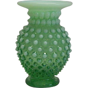Fenton Opalescent Green Small Vase