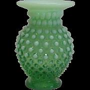 Fenton Opalescent Green Small Vase