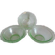 Three Green Depression Glass Bowknot Bowls