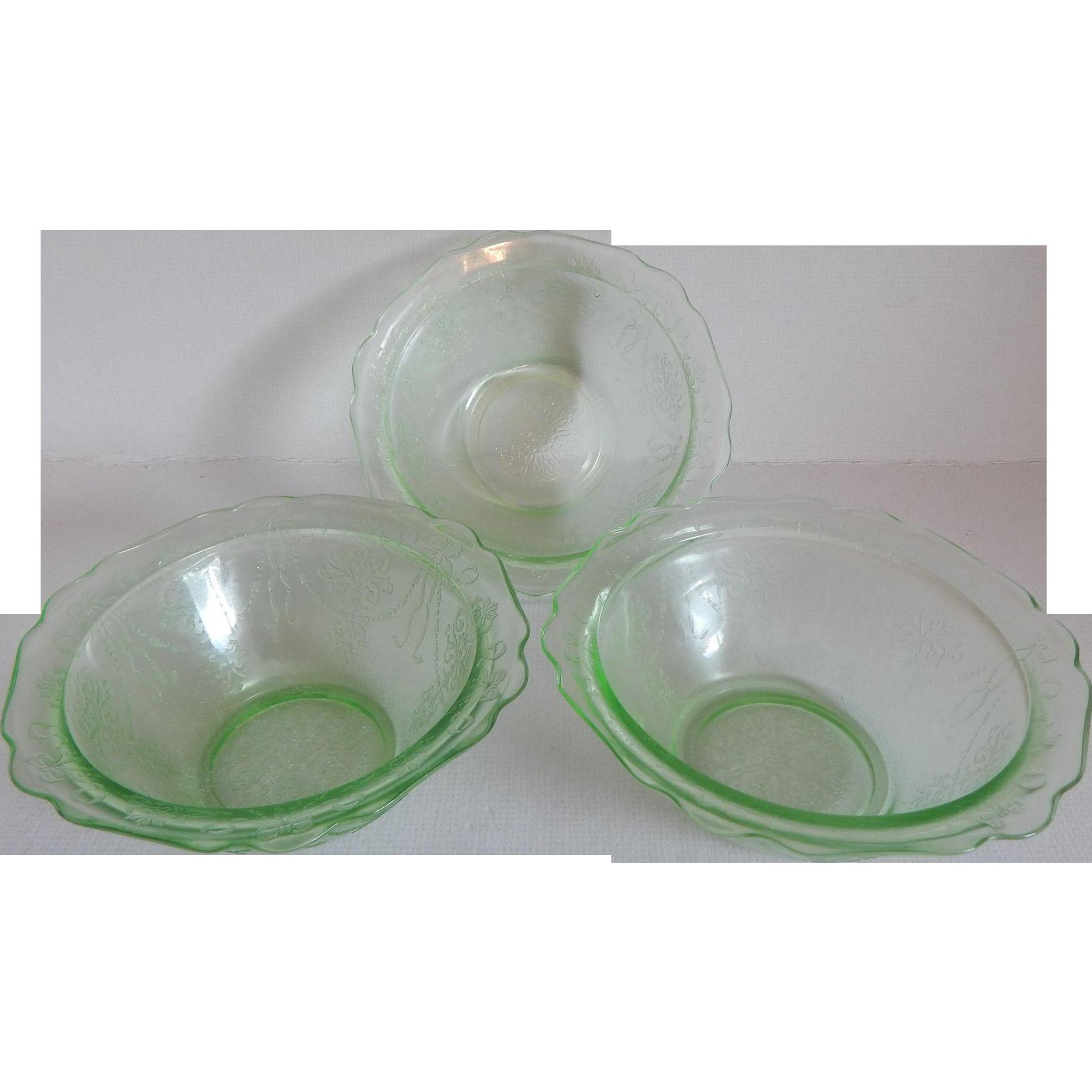 Three Green Depression Glass Bowknot Bowls