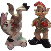 Shafford Donkey and Elf Salt and Pepper Shakers