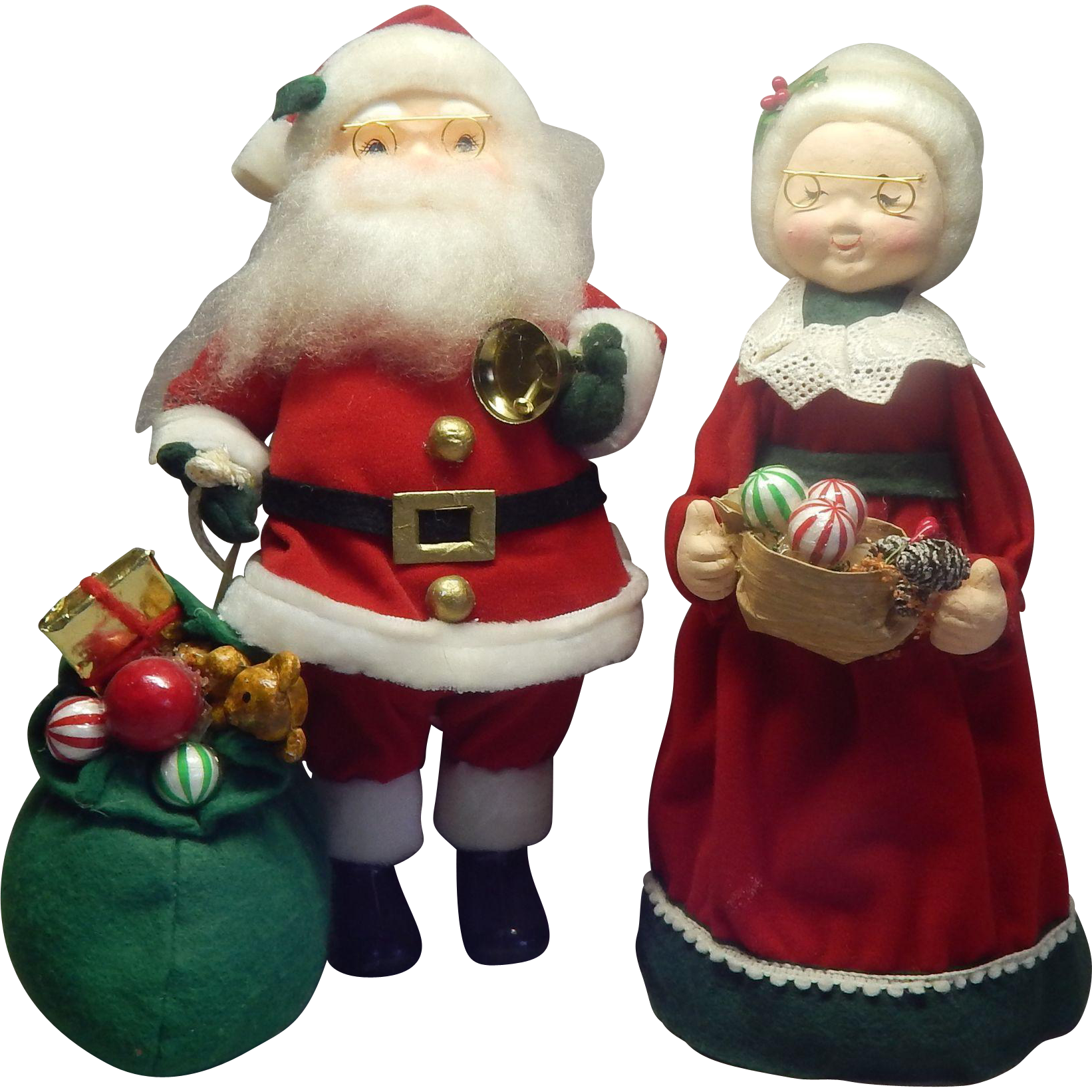 Paper Mache Santa Claus and Mrs Claus Figures
