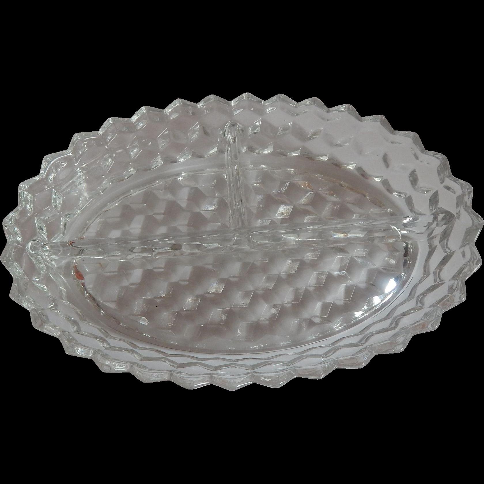 Fostoria American  Crystal Divided Dish