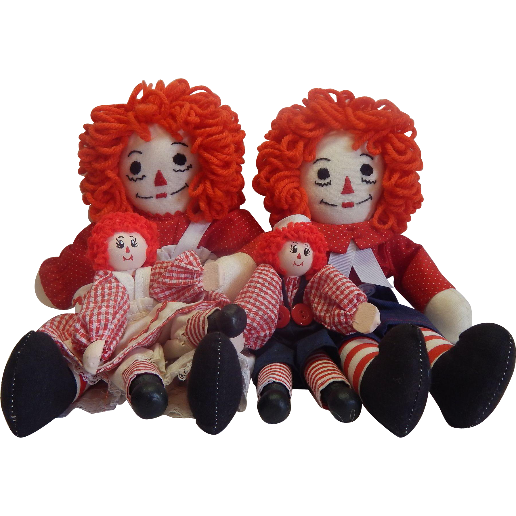 Four Handmade Raggedy Ann and Andy Dolls