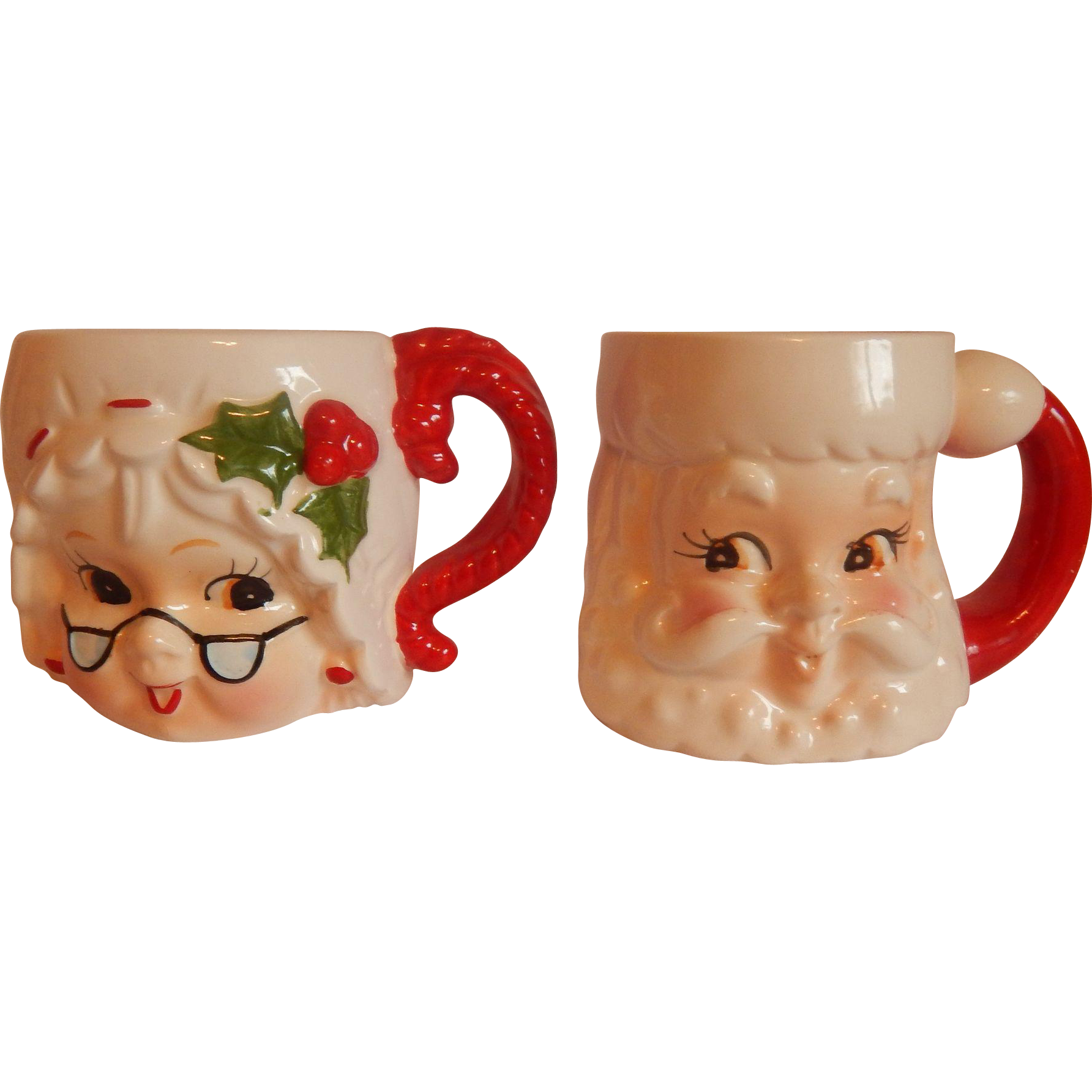 Lefton Santa and Mrs. Claus Mugs
