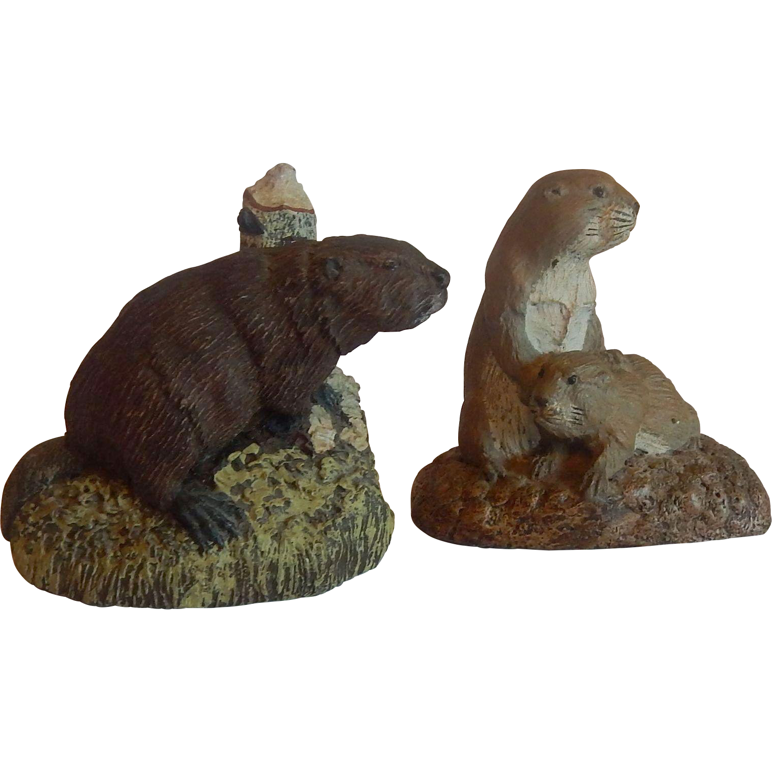 The Bronze Menagerie Beaver and Prairie Dog Figure
