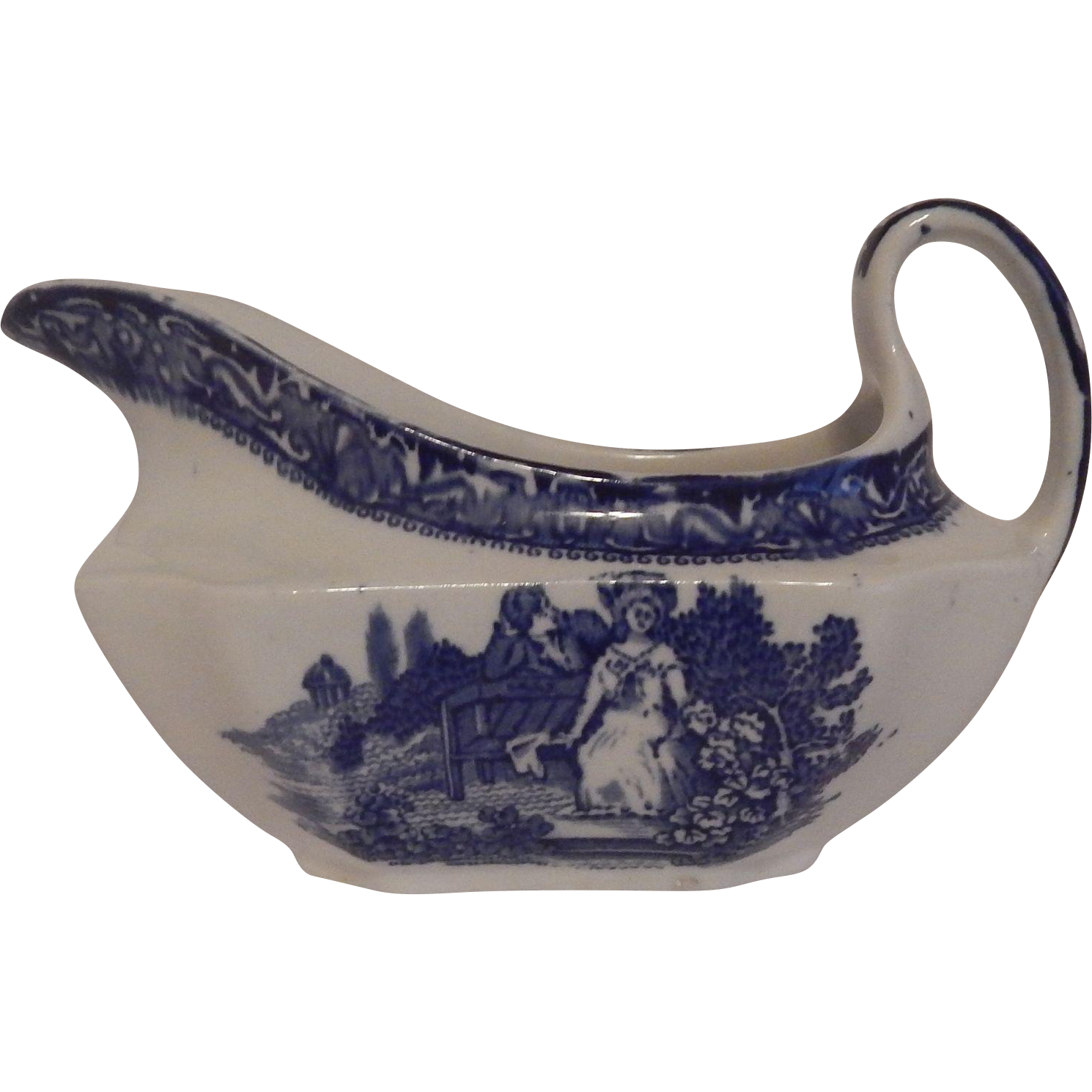 Blue and White Transferware Gravy Boat