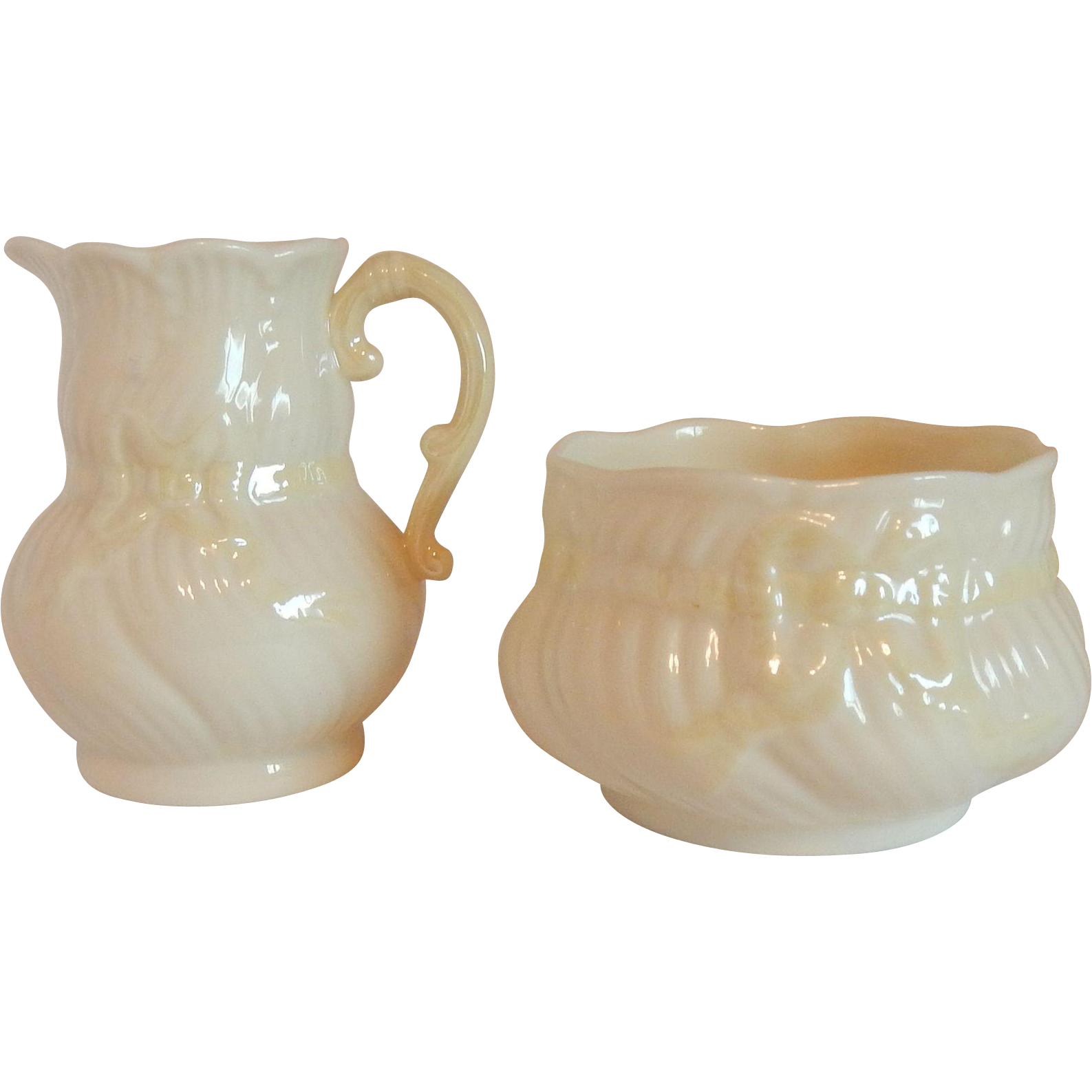 Bow Tie Creamer and Sugar by Belleek