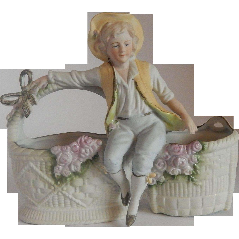 Bisque Boy Figure Planter Japan
