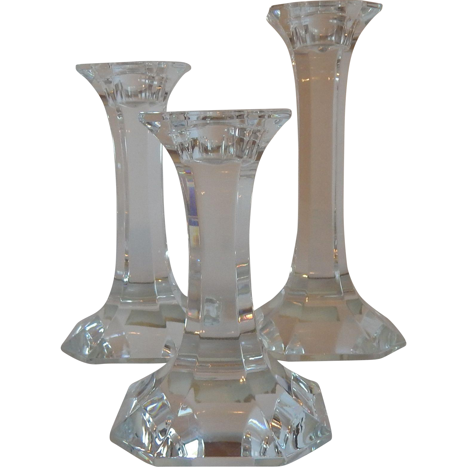 Three Lead Crystal Candle Stick Holders