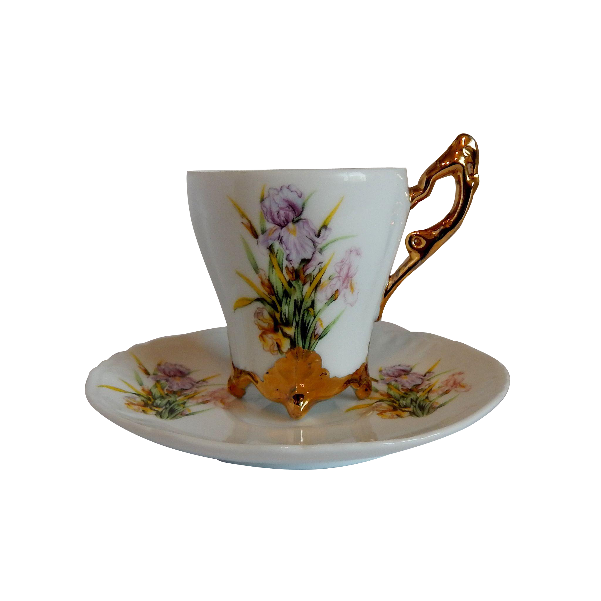 Handpainted Iris Flower Cup and Saucer