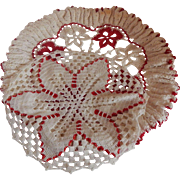 Two Red and White Hand Crocheted Doilies