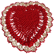 Red and White Hand Crocheted Heart Doily