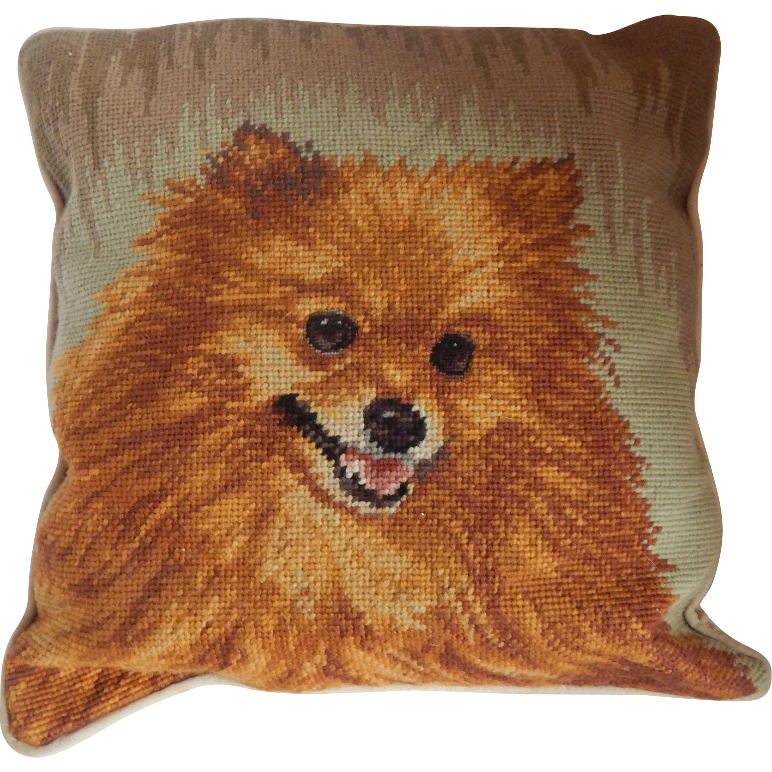Needlepoint Pomeranian Dog Pillow
