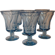 Six Fostoria Jamestown Blue Glasses