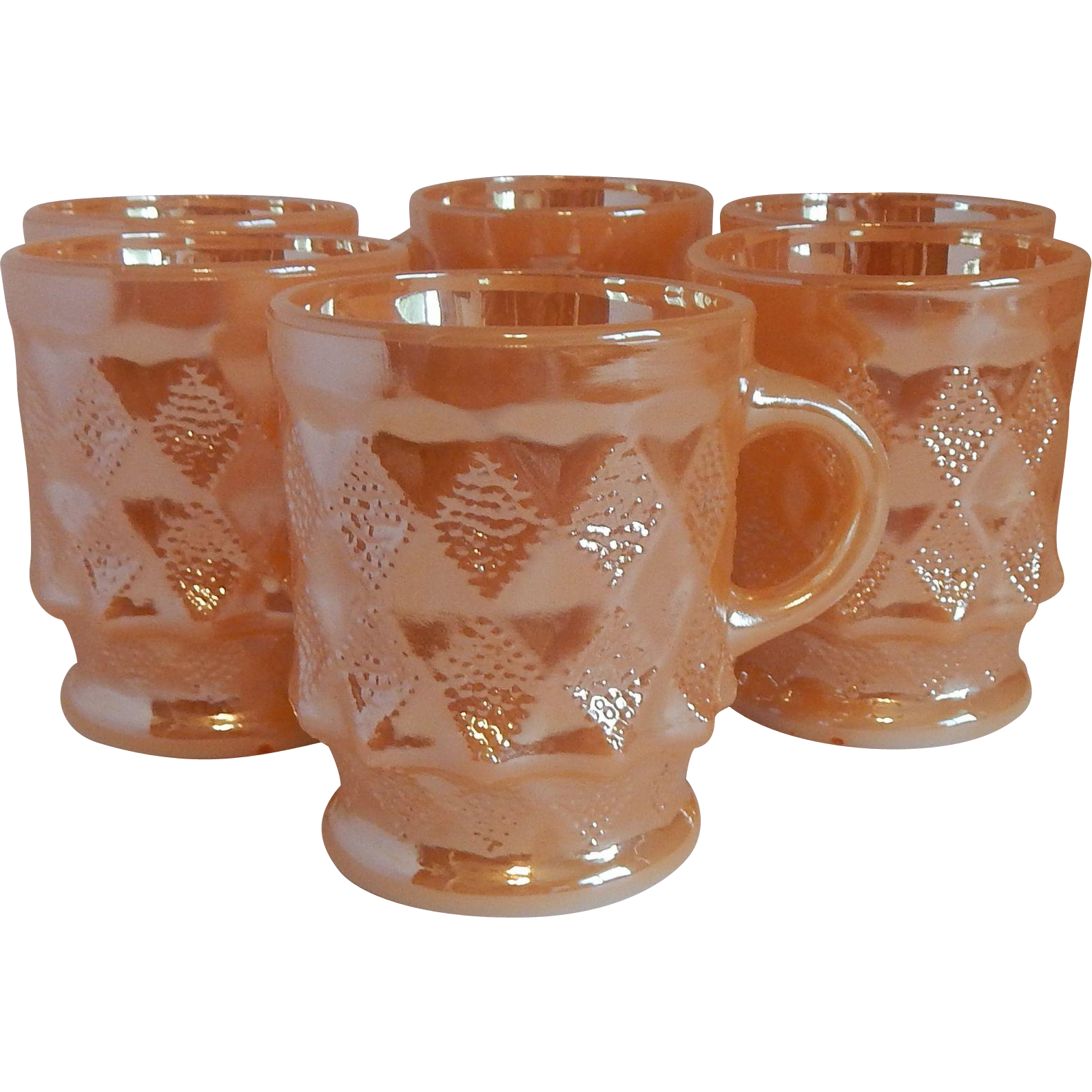 Six Fire King Anchor Hocking Peach Luster Mugs