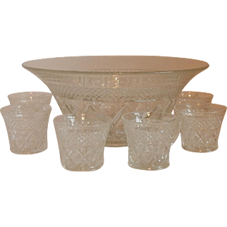 Imperial Glass Cape Cod Punch Bowl Set