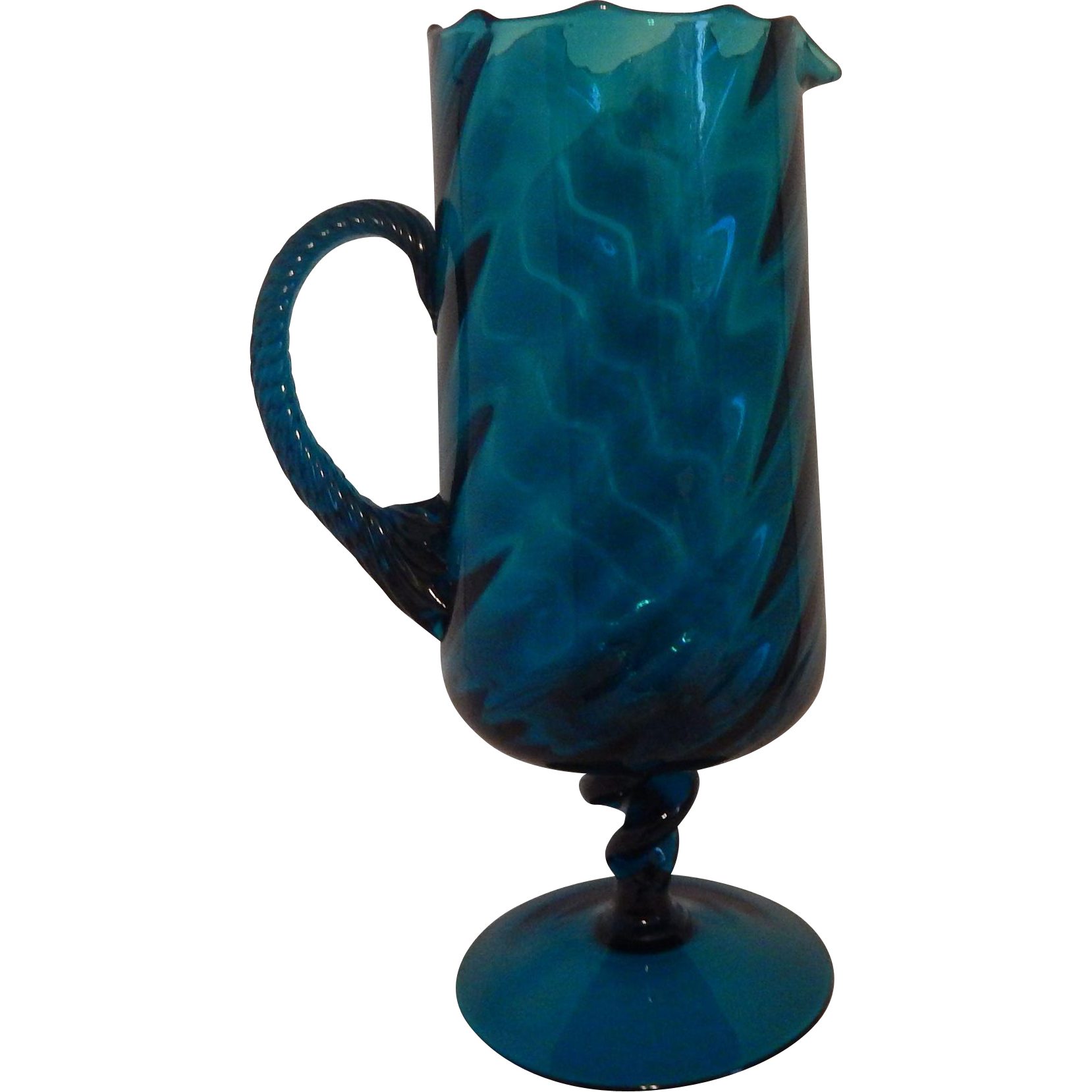 Hand Blown Blue Glass Pitcher