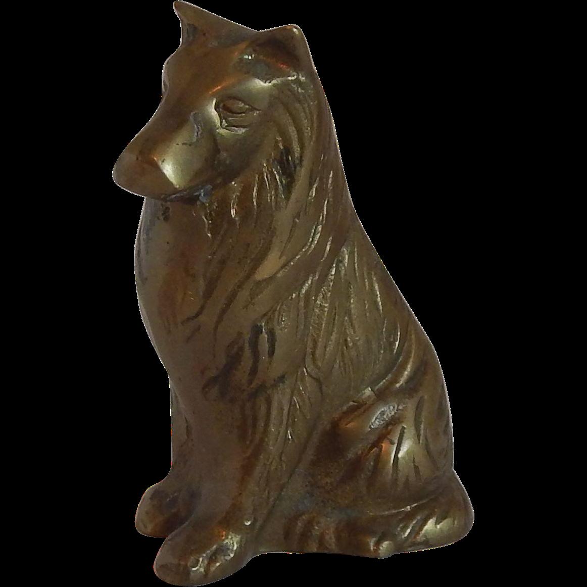 Brass Sitting Dog Figurine Collie