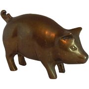 A Brass Standing Pig Figurine