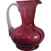 Small Hand Blown Cranberry Pitcher