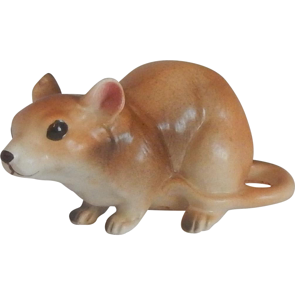 Ceramic Brown Mouse Figurine