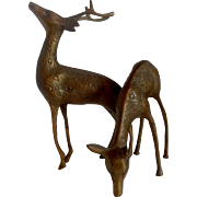 Brass Buck & Doe Deer Figurines