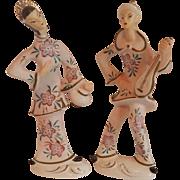 Asian Couple Ceramic Figurine Set