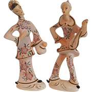 Asian Couple Ceramic Figurine Set