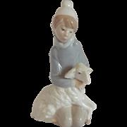 Lladro Boy with Sheep Figurine