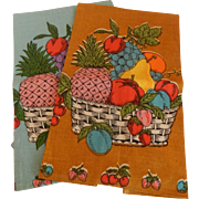 Two Parisian Prints Kitchen Towel with Fruit Baskets
