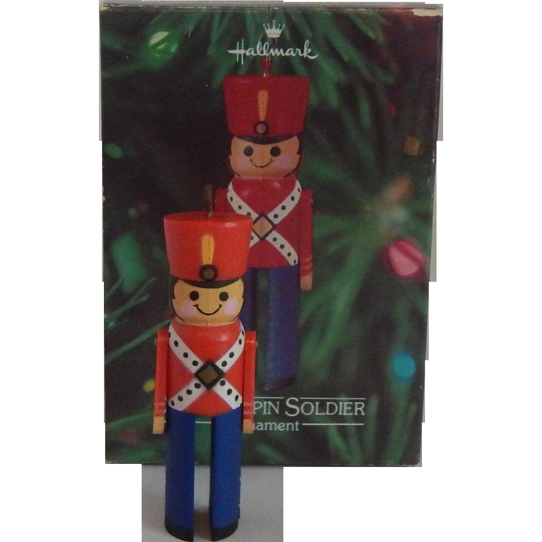 Hallmark Clothespin Soldier 1980 Ornament