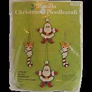Bucilla Christmas Needlecraft Santa & Candy Canes Ornaments