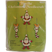 Bucilla Christmas Needlecraft Santa & Candy Canes Ornaments