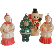 Four Plastic Christmas Ornaments Choir Boys, Santa , Snowman