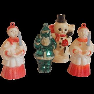 Four Plastic Christmas Ornaments Choir Boys, Santa , Snowman