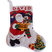 Complete  Bucilla Christmas Stocking with the name David