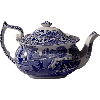 Spode Blue Italian Porcelain Teapot