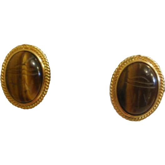 Large Vintage Gold Filled Clip Screw Back Earrings From