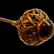"Marked 14K  Rhodalite Garnet Cabochon 6"" Hat Pin"