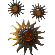 Sterling Baltic Amber Sunburst Brooch and Earring Set
