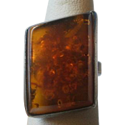 Russian Hallmarked Vintage Sterling Amber Ring